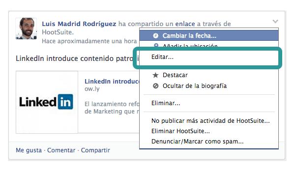 Como editar publicaciones en facebook paso 2